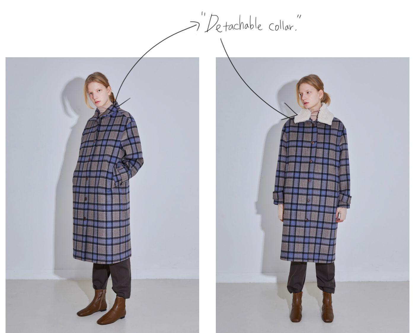 모어올레스(MORE OR LESS) SHEARING-COLLAR SET WOOL CHECK COAT - BLUECHECK